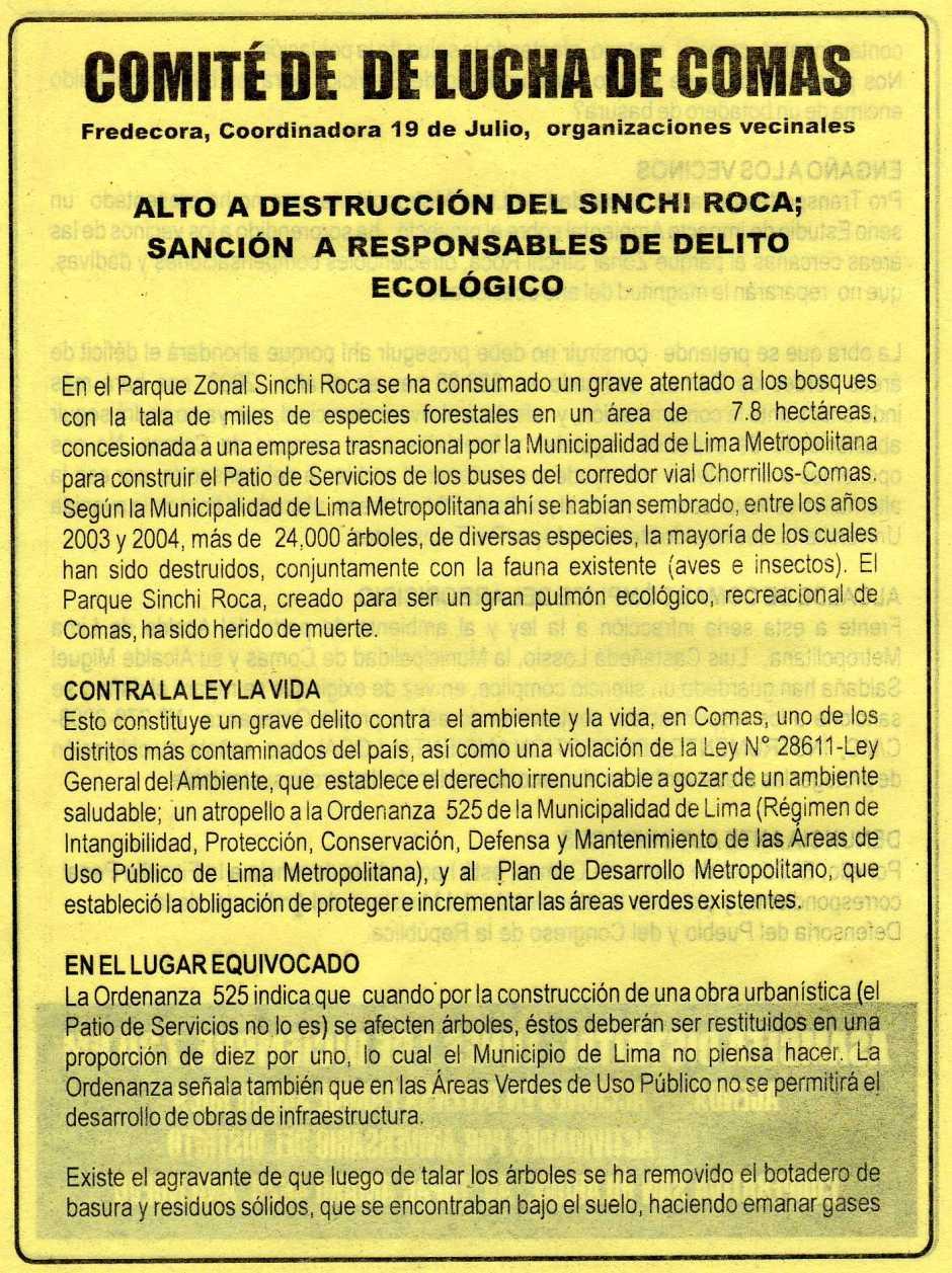 VOLANTE que cita a reunion a los vecinos de Comas para tratar el tema de la TALA indiscriminada de ARBOLES en el Parque Sinchi Roca Primera Parte