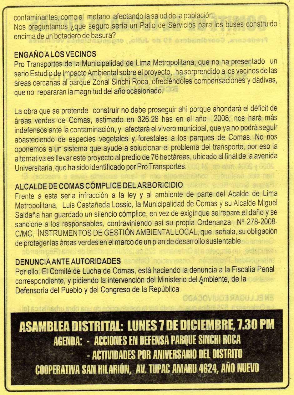 VOLANTE que cita a reunion a los vecinos de Comas para tratar el tema de la TALA indiscriminada de ARBOLES en el Parque Sinchi Roca Segunda parte